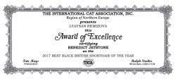 TICA сертификат 2017